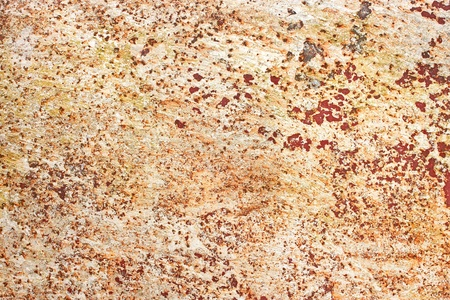 Multilayer painted metal surface with old paint and rust shelled areas photo