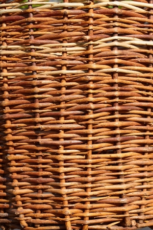 Fragment of an old wicker basket with willow twigs Stock Photo - 13869502