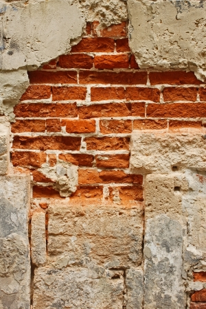 Fragment of old brick masonry on a foundation with destroyed stucco close-up photo