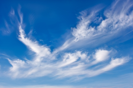 Beautiful sky scenery with different white clouds