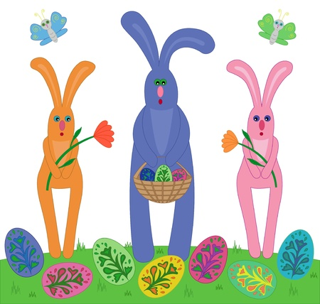 Easter rabbits carrying flowers and basket with Easter eggs  Vector illustration Stock Vector - 17599622