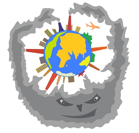 Smoke that produces humankind threatens to Earth  Cartoon illustration of ecological concept Vector