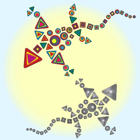 circling: Colorful and gray dragons are circling in the sky around the sun illustration