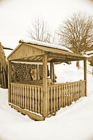 Rural outdoor arbor in winter, vintage photo photo