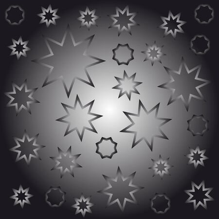 octagonal: Abstract octagonal stars black and white vector illustration