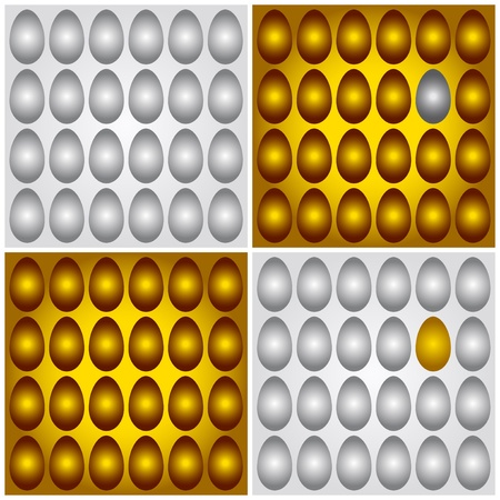 Four illustrations of different egg groups: gold on the golden, silver on the silver, and also unique conceptual pictures of one golden among many grayish and one gray among many golden Vector