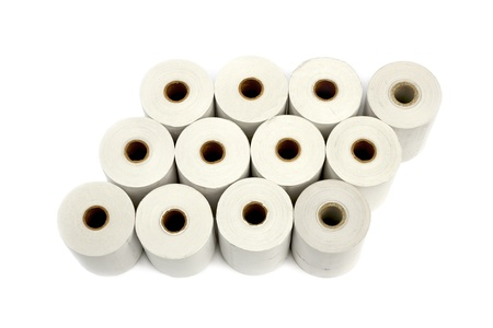 bureaucratic: Group of paper rolls for thermal printers and cash registers isolated over white background Stock Photo