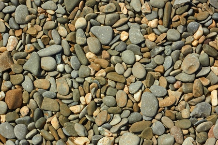 Fragment of pebble beach with flat colored pebbles close-up in bright sunlight photo