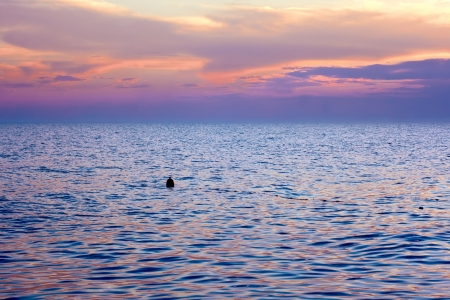 bounding: Violet tint clouds reflected in the sea surface after sunset. Float the bounding coastal sways on the waves