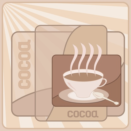 Cocoa cup on the cocoa color backgrounds Vector