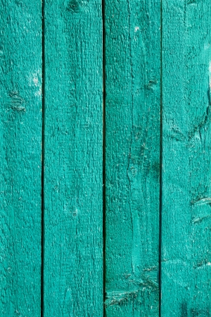 Detail the fence of parallel vertical wooden boards painted in gree
