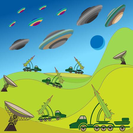 エイリアンの飛行のプレートが攻撃している地球軍ロケット ユニット保持防衛手描画ベクトル イラスト