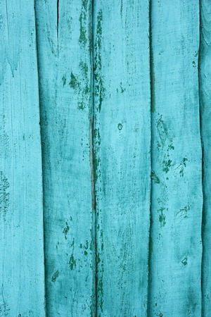 Shield of vertical wooden boards with multilayered shelled covering painted in turquoise photo