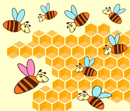 swarm: Bee queen and bees flying over honeycomb, hand drawing cartoon vector illustration