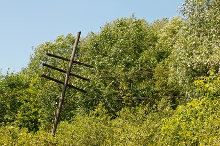 Old rickety wooden telegraph pole with the wire remains against the backdrop of trees in lovely summer day