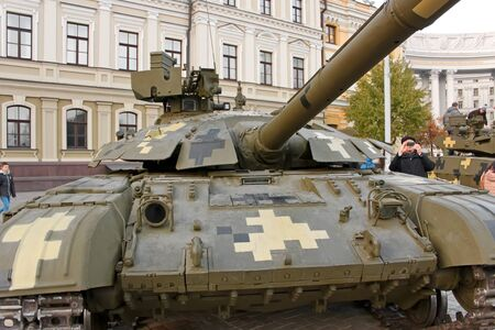 weaponry: KYIV, UKRAINE - OCTOBER 17, 2015: Exhibition of military equipment Power Unconquered in October 17, 2015 on St. Michaels square in the downtown of Kyiv, Ukraine. Tank Bulat close-up