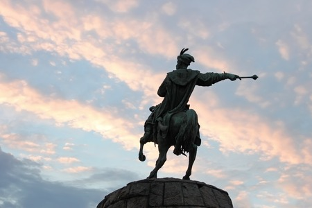 constructed: Monument to hetman Bogdan Khmelnytsky on St. Sophia area in Kyiv, Ukraine. Constructed in 1888. Silhouette the monument on the background of evening sky