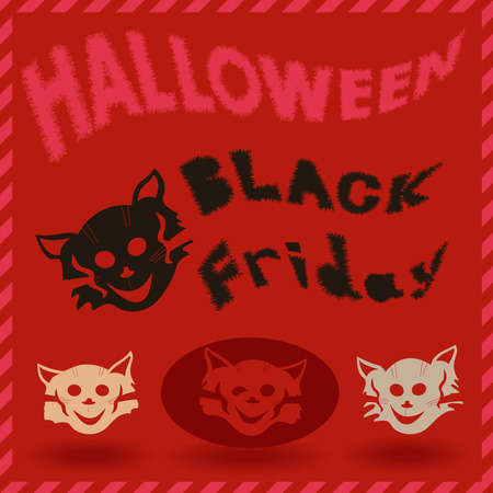 Halloween and Black Friday inscriptions and stencils of cartoon cats on a red background, vector illustration