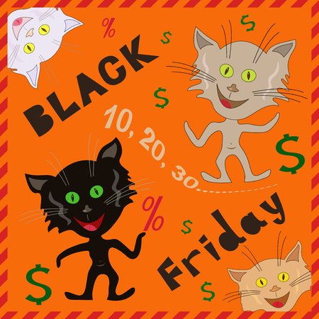 friday 13: Amusing caricatured funny cats announcing a Black Friday, cartoon vector illustration with orange background Illustration