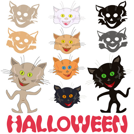 feline: Halloween set of funny cats, feline masks and stencils of faces and Halloween inscription, vector design elements isolated on a white background Illustration
