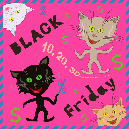 friday 13: Funny caricatured cats announcing a Black Friday, cartoon vector illustration with pink background