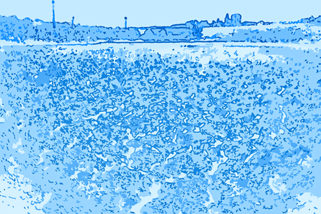 Abstract far away coast, digital generated landscape illustration in blue hues