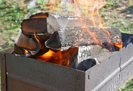 blazes: Firewood burns in rusty metal tray for broiling pan in a fine sunny weather