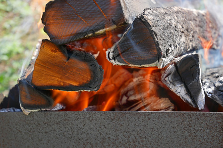 blazes: Firewood burns in rusty metal tray close-up
