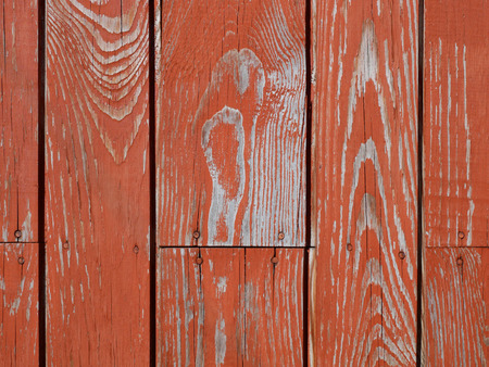 Detail of old wooden nails fastened fence with shelled red paint in sunlight
