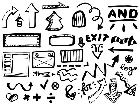pensil: Hand drawn vector elements set. Vector illustration. Illustration
