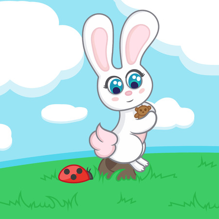 clearing: Bunny with a toy sits on a rock in a clearing near the ladybug.