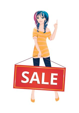 tunic: Cute girl. Vector illustration. Beautiful woman shows finger up.