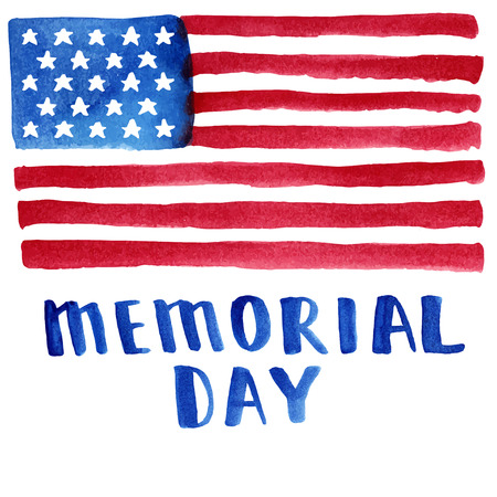 Memorial day. Vector illustration with american flag.