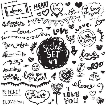 ベクター要素、花や葉、ハートや装飾品の手描きのセット。愛のテーマ.  イラスト・ベクター素材