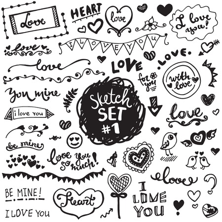 Hand-drawn set of vector elements, flowers and leaves, hearts and ornaments. Love theme.
