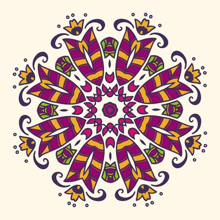drown: Round hand drown pattern. Colorful vector illustration.