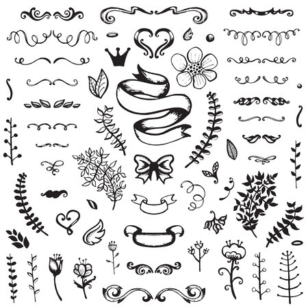 Hand-drawn set of vintage elements, flowers and leaves, ribbons and ornaments.