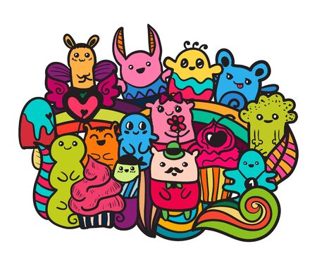 pattern monster: Doodle vector illustration with animals. Funny monsters graffiti. Hand drawn sketch art.