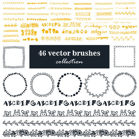 ベクトル ブラシのコレクションです。点線ジグザグ、装飾のための traceries あなたの仕事。ビンテージ ブラシとラウンド フレーム。