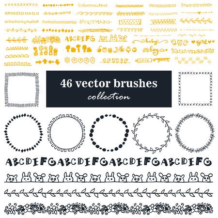 벡터 브러쉬의 컬렉션입니다. 점선과 지그재그, 장식 작업에 대한 traceries. 빈티지 브러시와 라운드 프레임. 일러스트