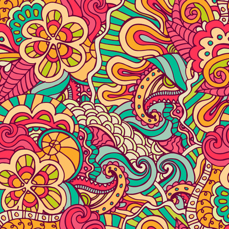 multicolored: Hand drawn pattern with flowers and leaves. Vector illustration. Seamless floral background.