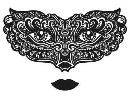 Hand drawn ornamental mask. Vector art illustration. 向量圖像