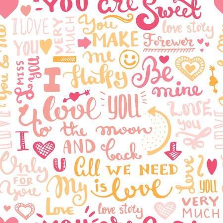 love letter: Hand drawn romantic typography. Vector lettering seamless background.