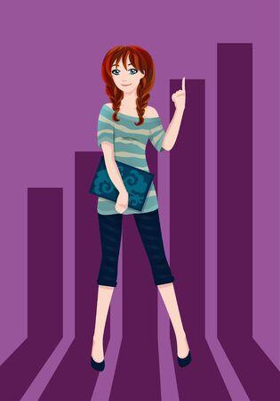 tunic: Cute girl. Vector illustration.
