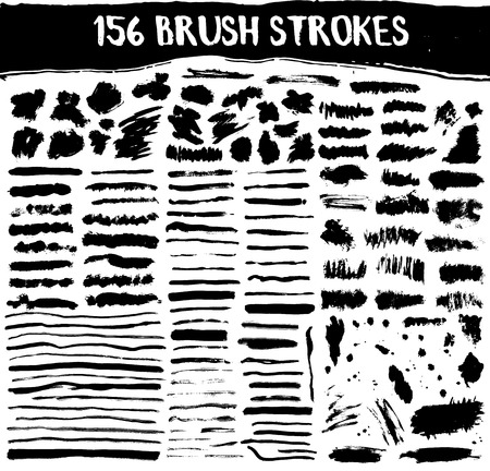 Brush strokes big vector set. Hand painted illustration. Watercolor art collection.