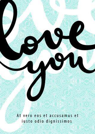 손 텍스트 빈티지 포스터를 그려. 벡터 크리 에이 티브 그림입니다. 로맨틱 카드. 일러스트