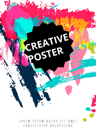 Hand drawn watercolor poster with text. Vector art illustration.