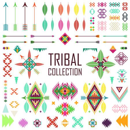 tribales: Colección de los elementos tribales. Vector ilustración del arte set.Tribal y diseño azteca.