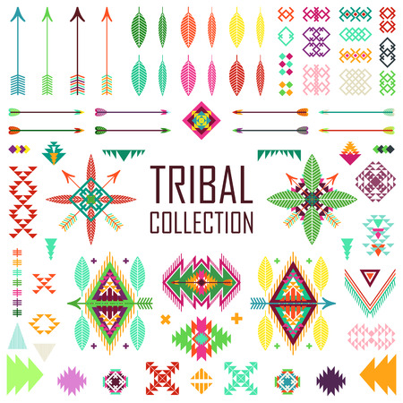 american indian aztec: Tribal elements collection. Vector illustration set.Tribal art and aztec design.