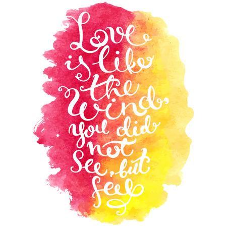 romantico: Vector caligraf�a. Dibujado a mano cartel de las letras. Tarjeta de la tipograf�a rom�ntica. Fondo de la acuarela.